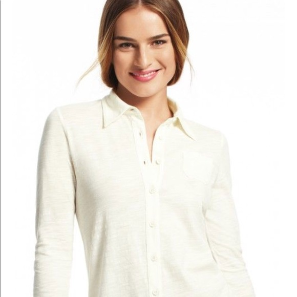 White Buttoned Down Cotton Knit